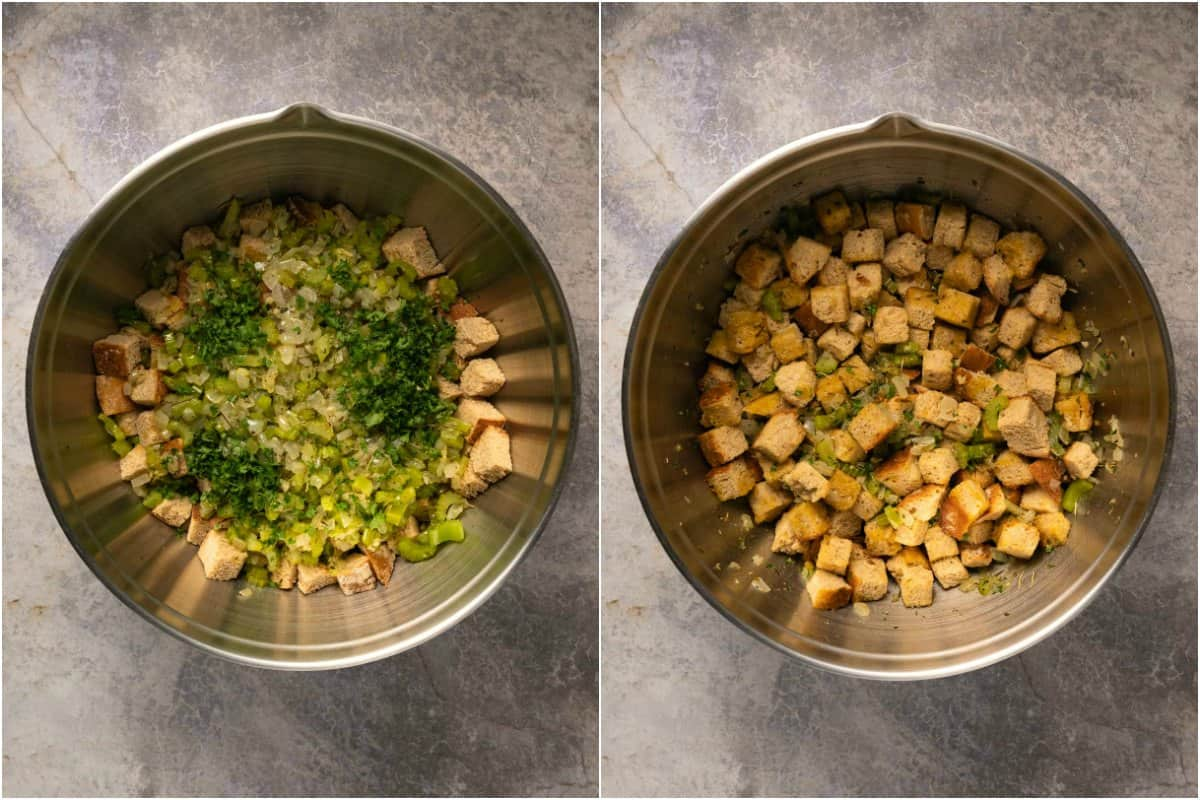 Two photo collage of mixing ingredients for stuffing.