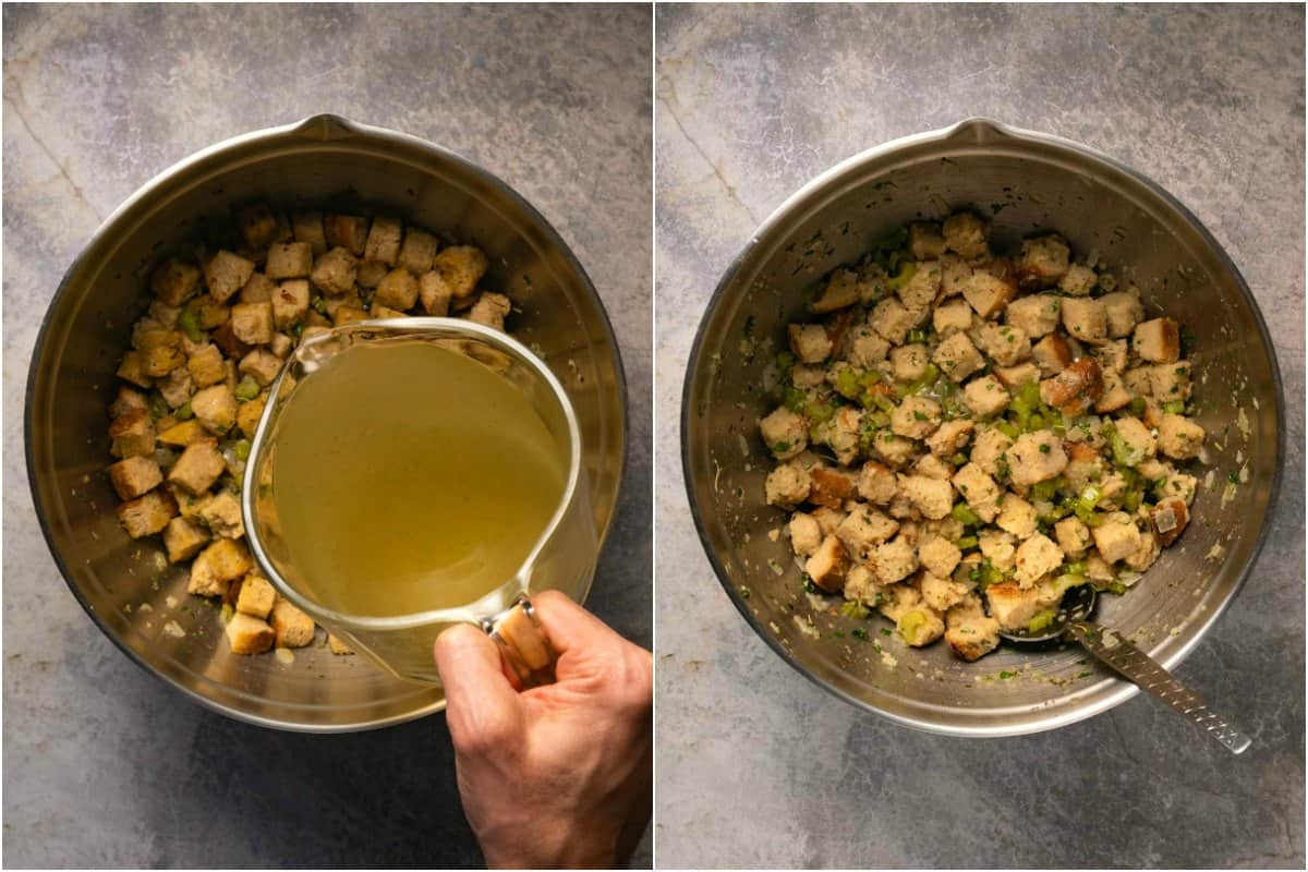 Two photo collage showing steps to making stuffing.