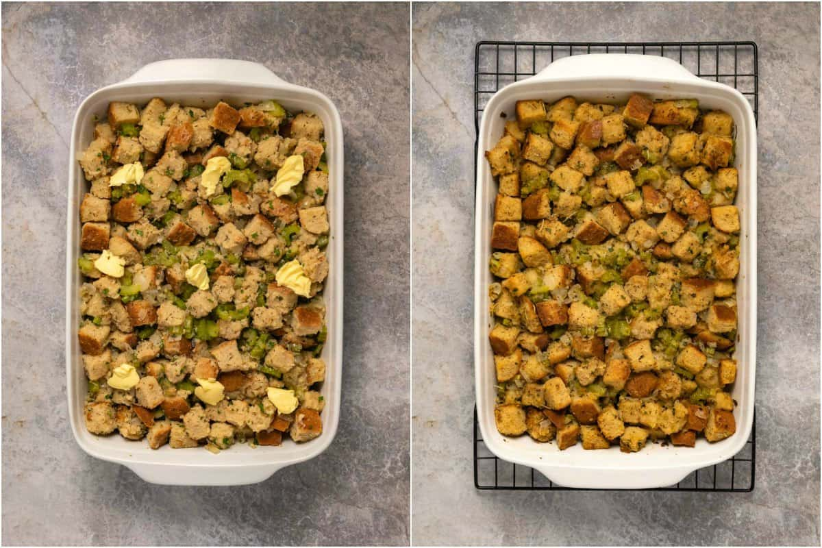 Two photo collage of vegan stuffing, before and after baking.