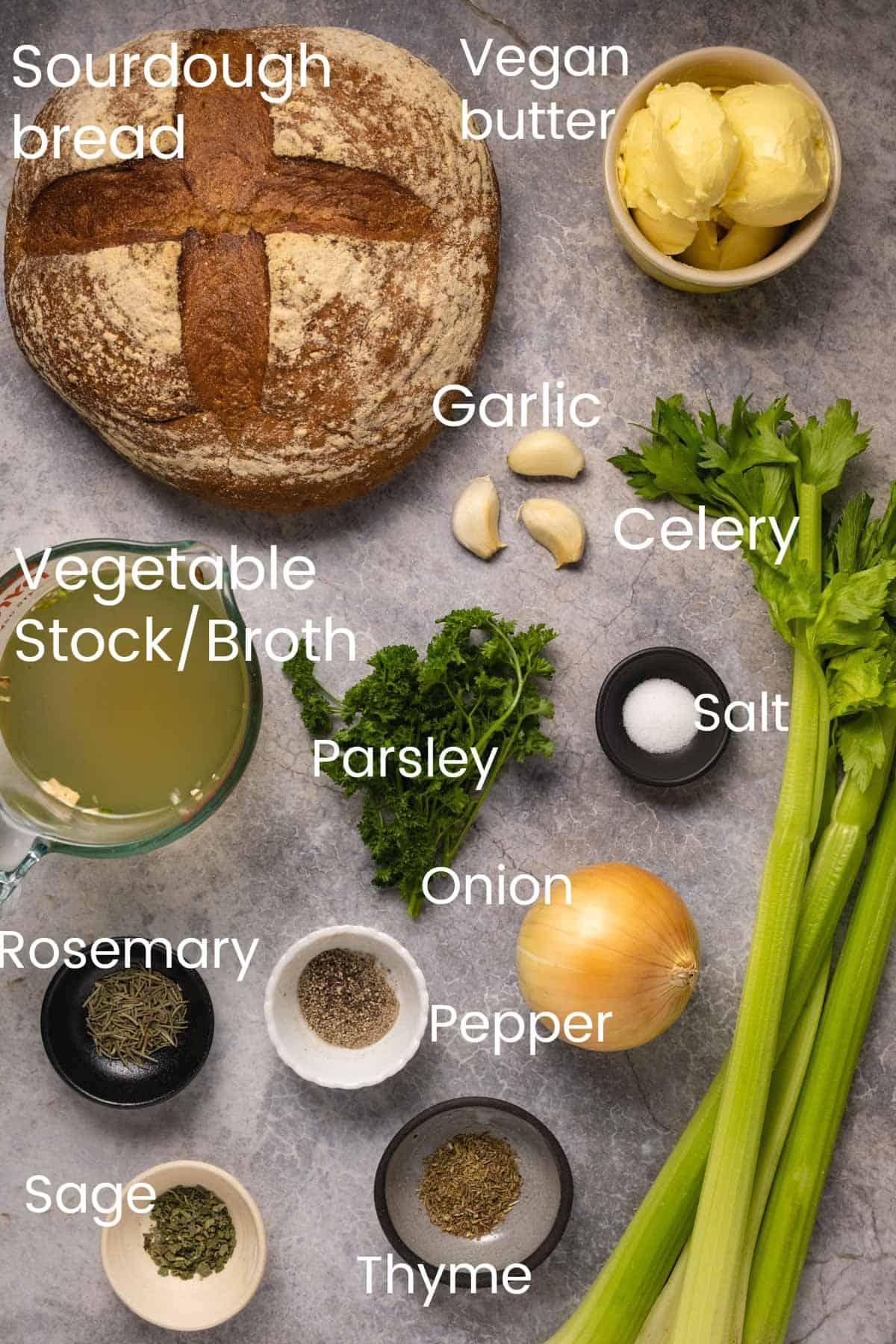 Photo of ingredients for vegan stuffing