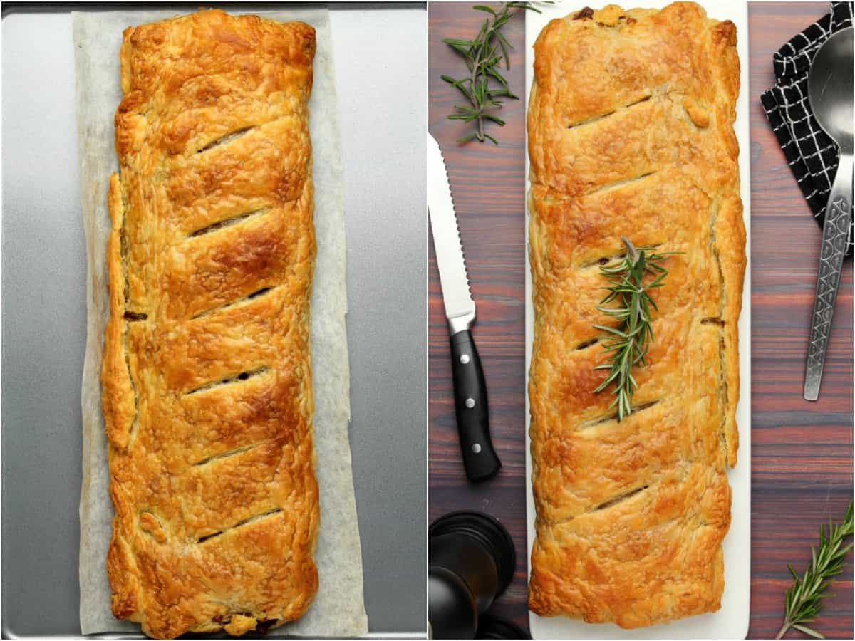 Two photo collage of a vegan wellington, freshly baked and then ready to serve.