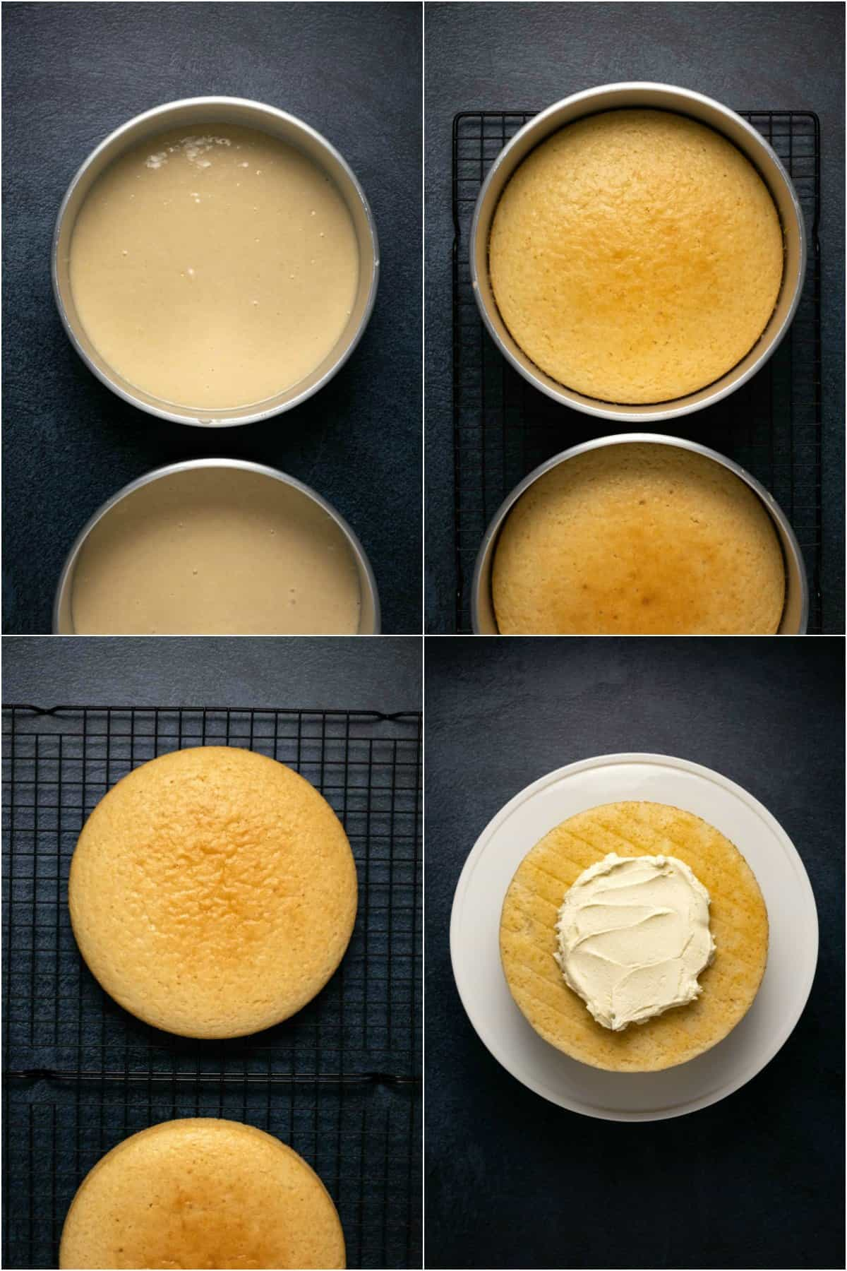 Step by step process photo collage of making a vegan white cake.