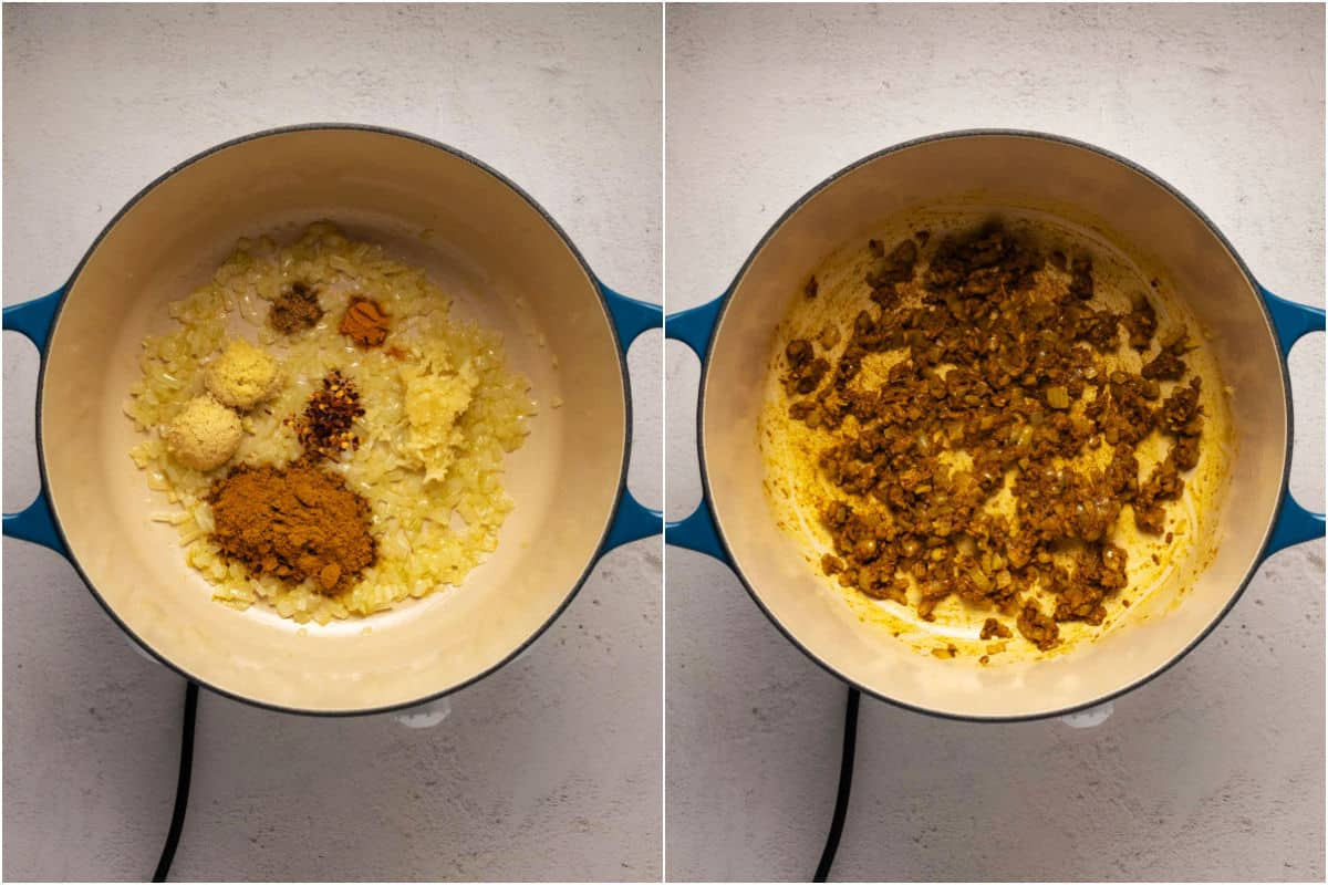 Collage of two photos showing spices added to onions and sautéeing in a pot.