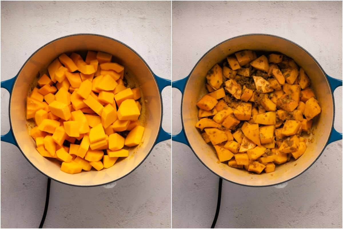 Two photo collage showing chopped butternut added to pot and tossed in spices.