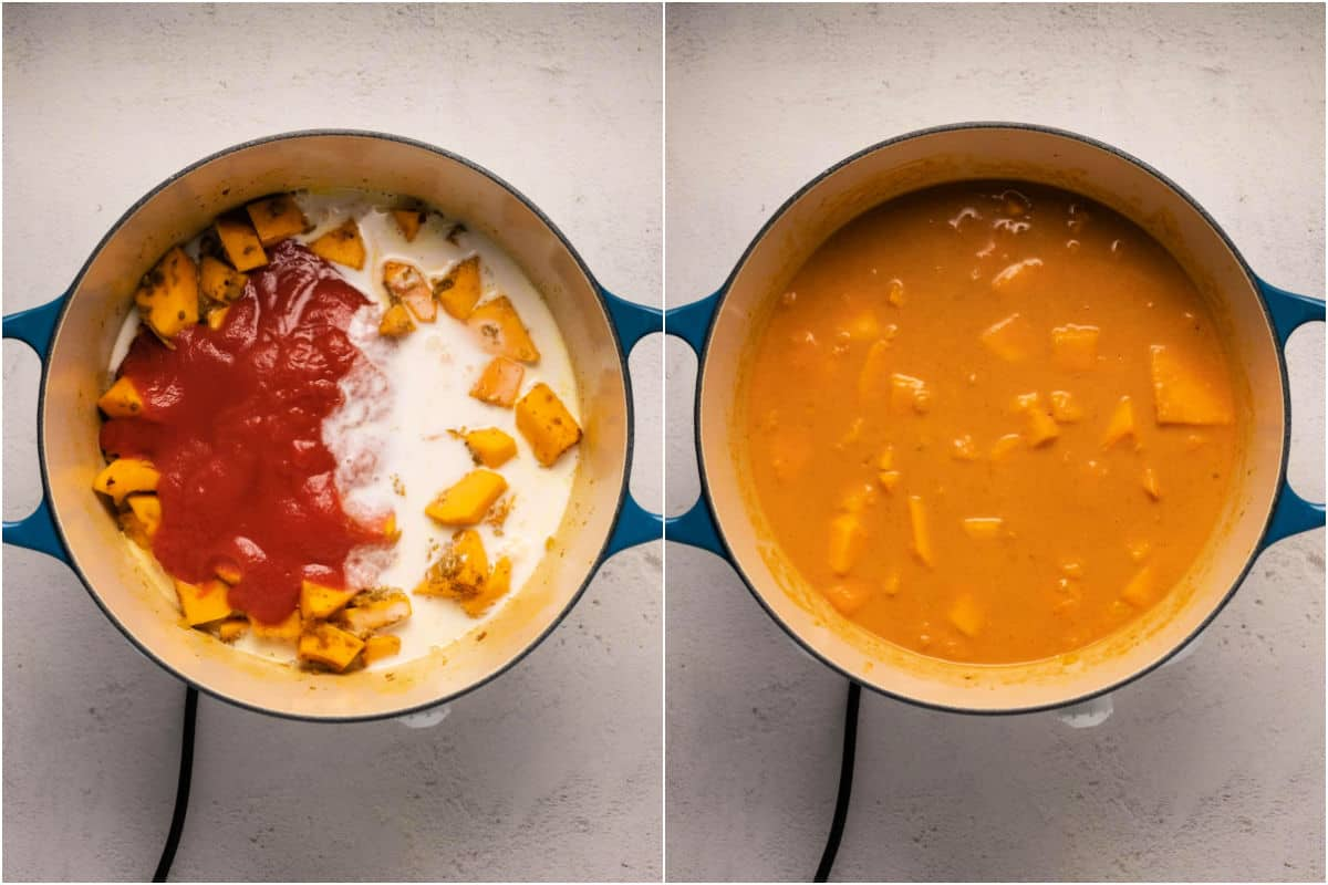 Collage of two photos showing crushed tomatoes and coconut milk added to pot and mixed in.