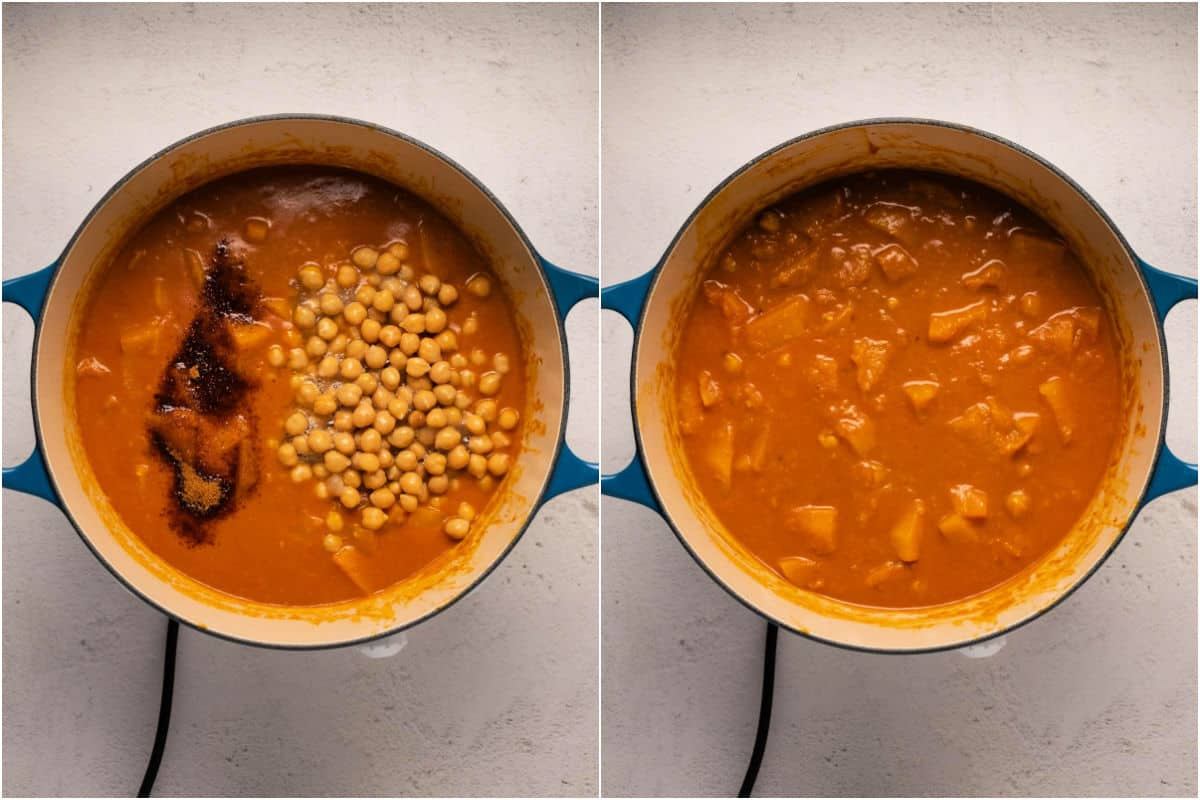 Collage of two photos showing chickpeas and coconut sugar added to pot and stirred in.