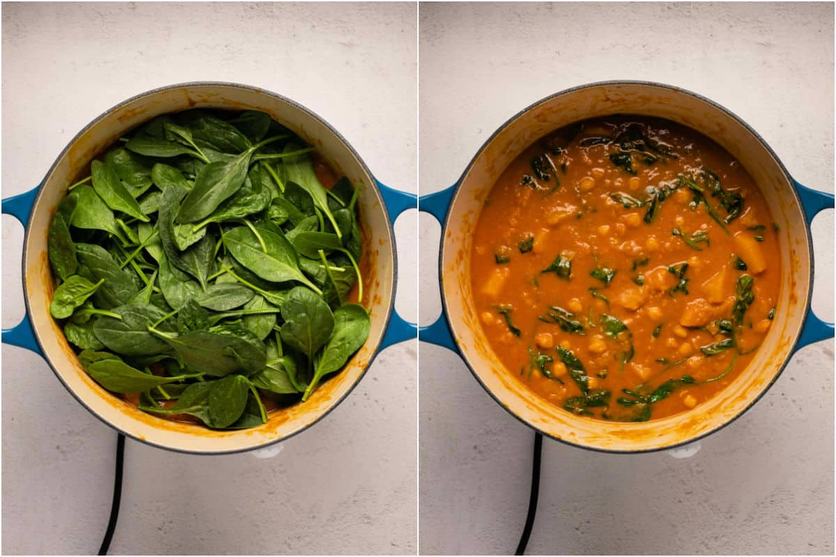 Collage of two photos showing baby spinach added to pot and stirred in until wilted.