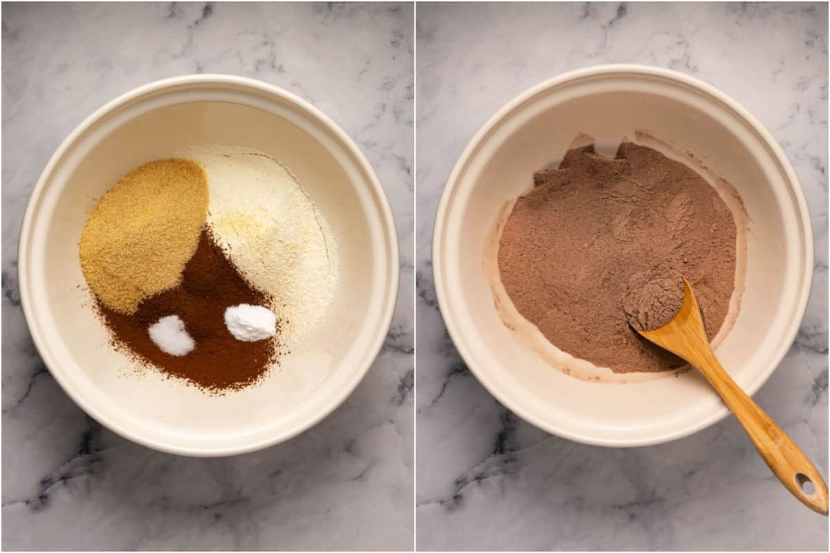 Two photo collage showing mixing of dry ingredients for cake.