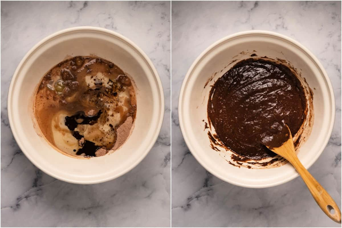 Two photo collage showing adding wet ingredients and mixing into a cake batter.