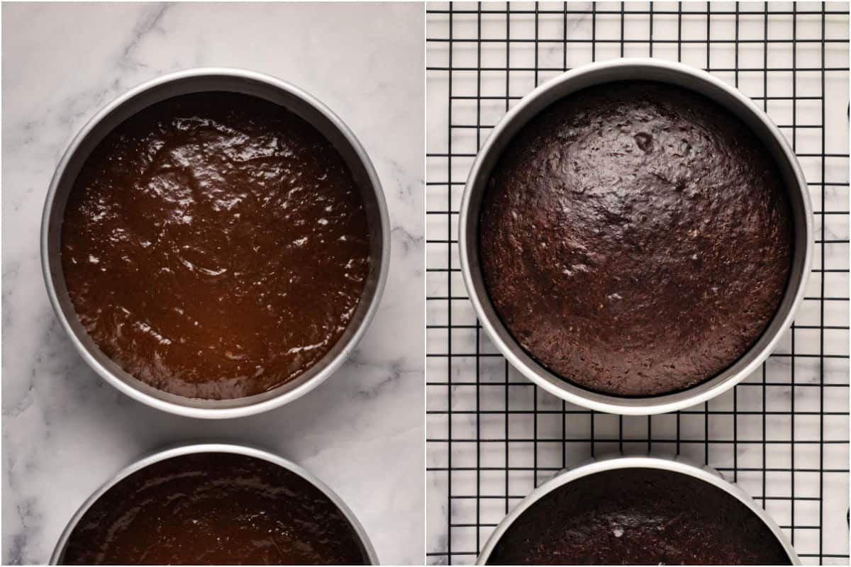 Collage of two photos showing chocolate cake before and after baking.