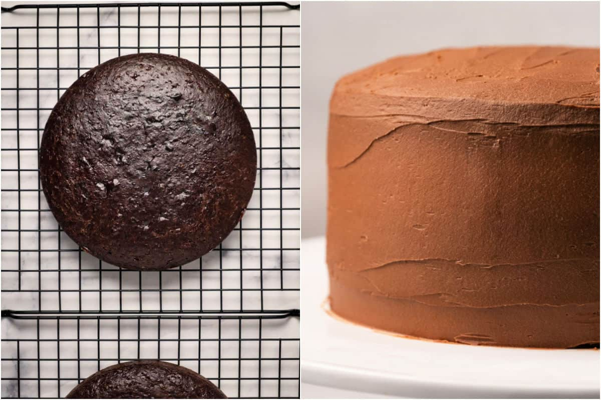 Collage of two photos showing cakes on wire cooling rack and then the frosted cake.