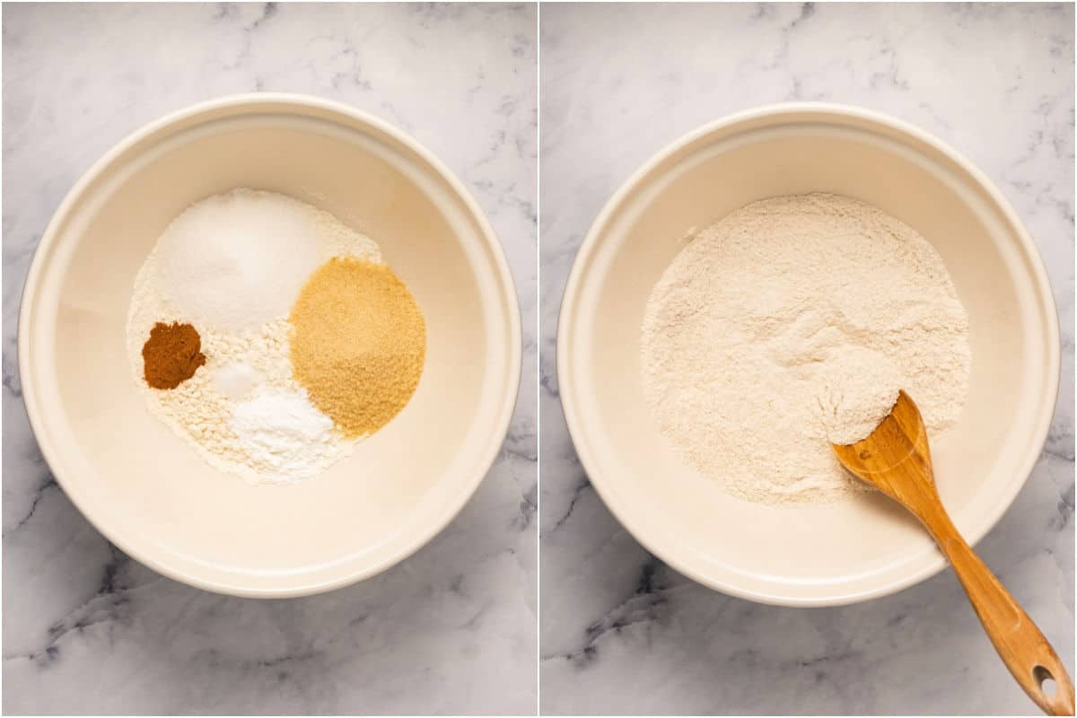 Collage of two photos showing dry ingredients in a bowl and then mixed.