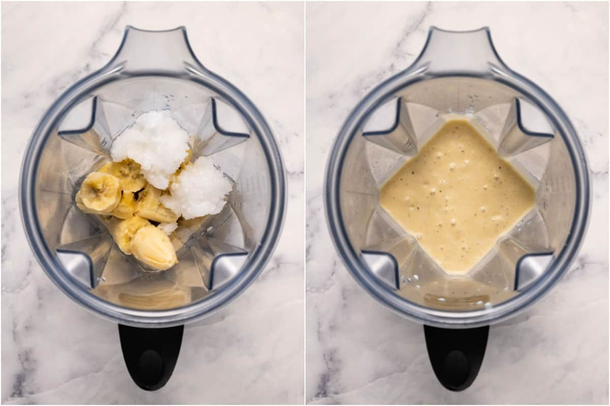 Collage of two photos showing ingredients before and after blending.