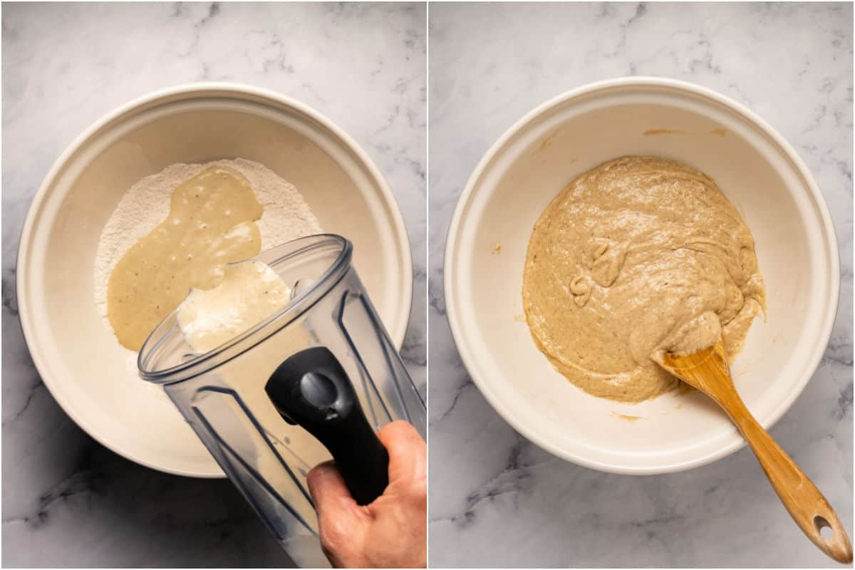 Two photo collage showing wet ingredients added to dry and then mixed.