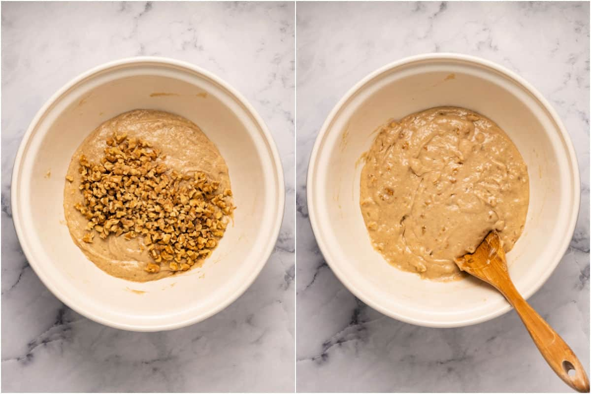 Collage of two photos showing chopped walnuts added to batter and mixed in.