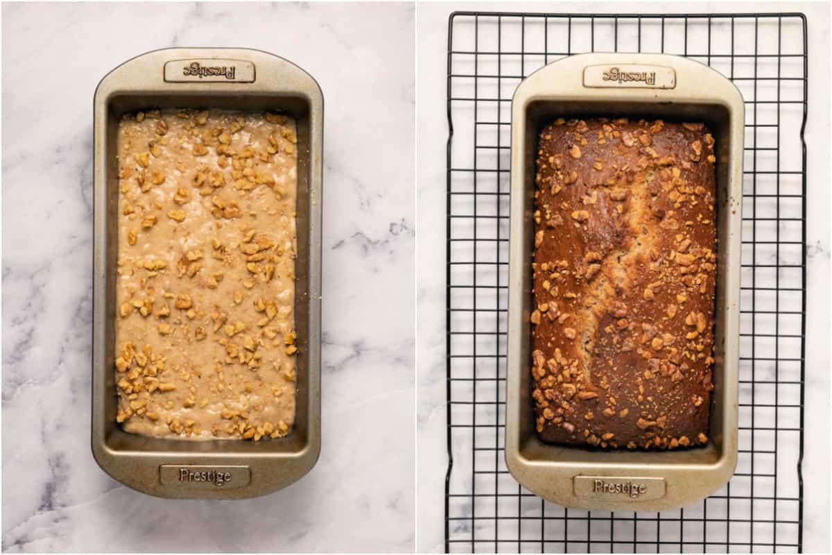 Two photo collage showing banana bread before and after baking.