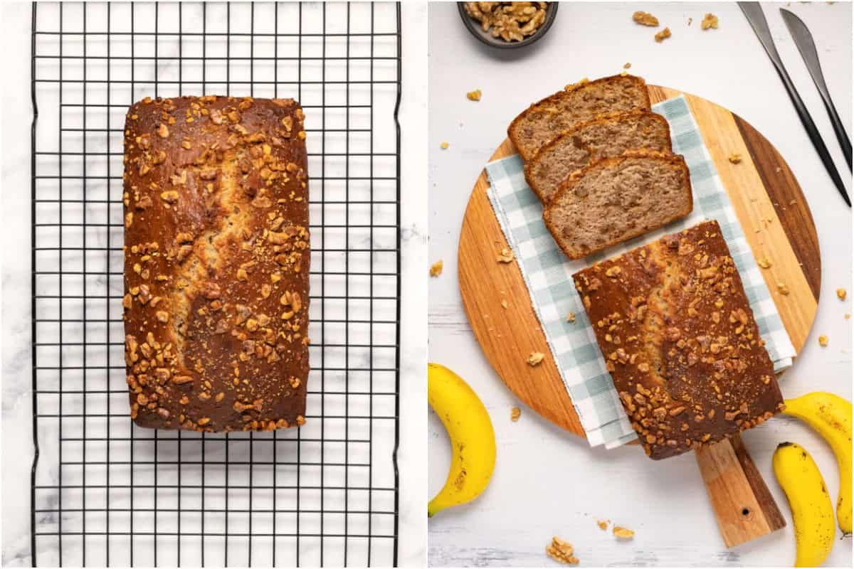 Collage of two photos showing banana bread cooling on a wire cooling rack and then sliced and ready to serve on a wooden cutting board.