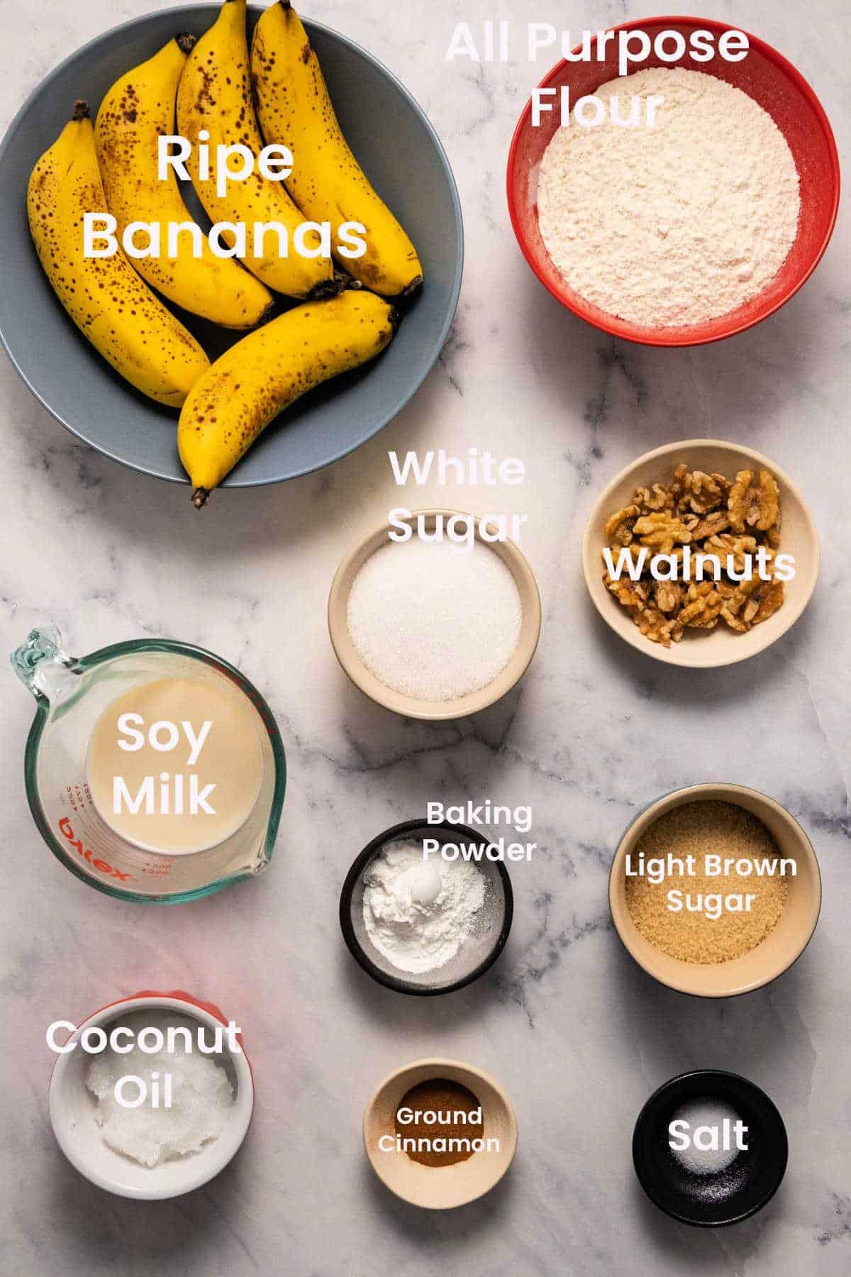 Ingredients to make vegan banana bread.