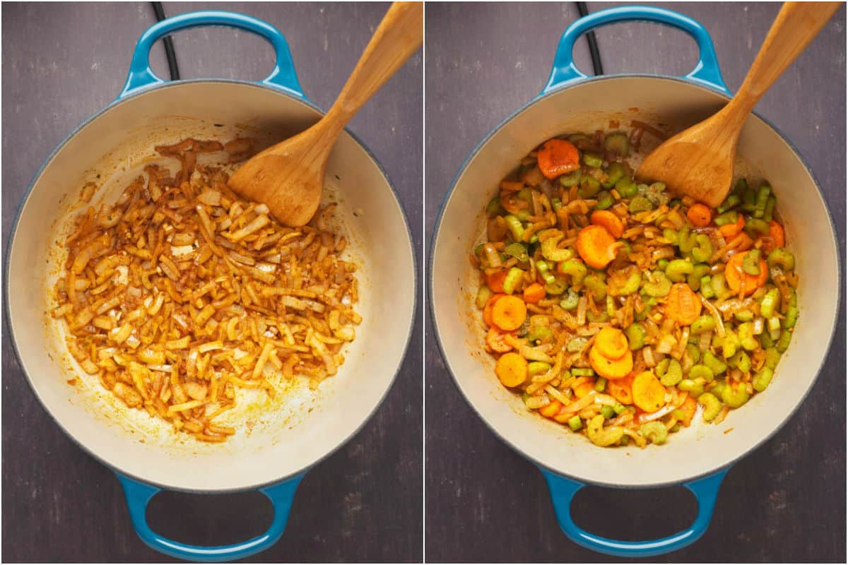 Collage of two photos showing sautéed onions and spices and mixing in carrots and celery.