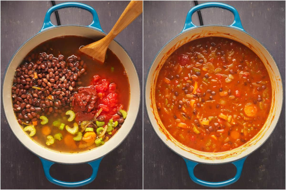 Collage of two photos showing soup cooking.