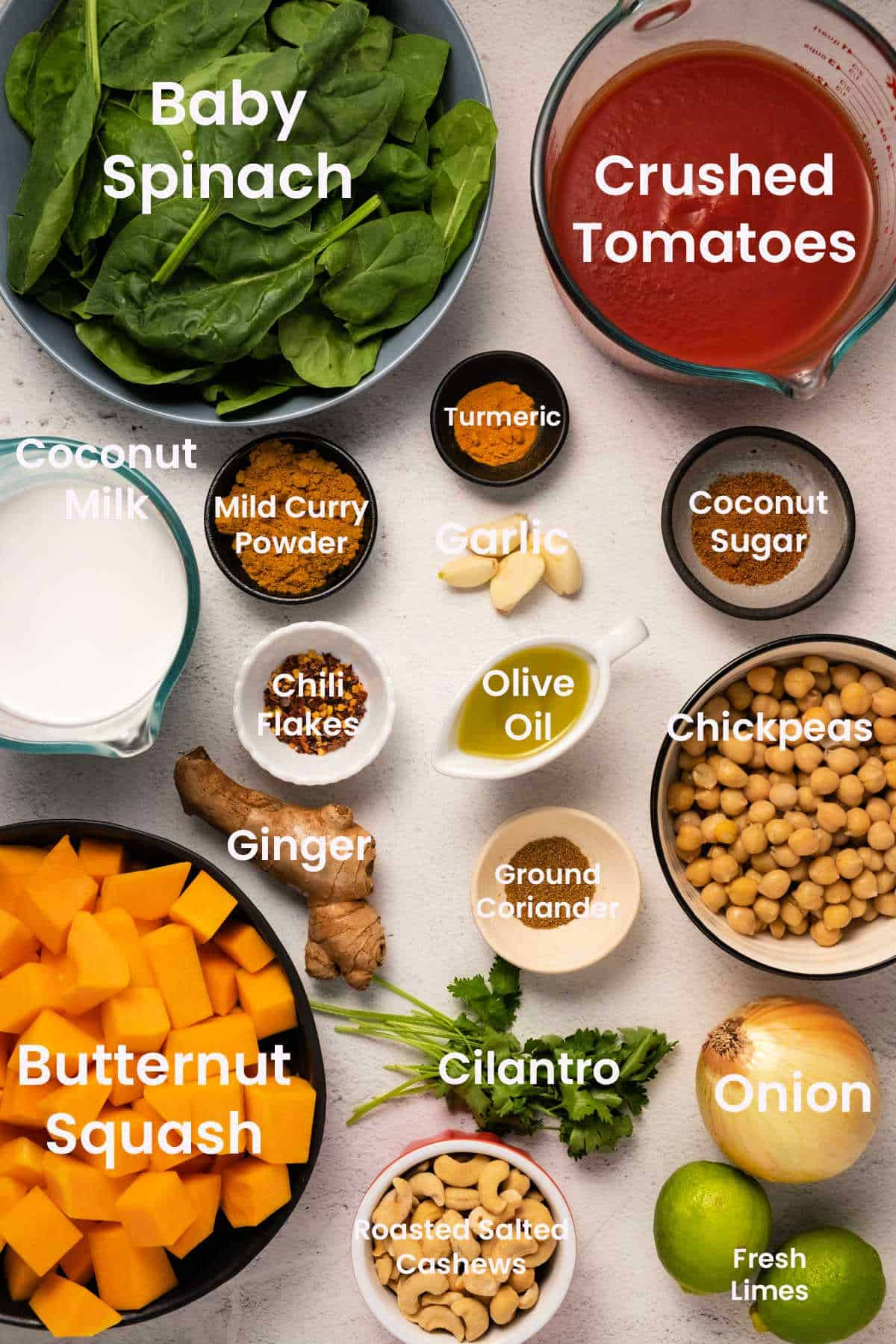 Ingredients to make butternut squash curry.