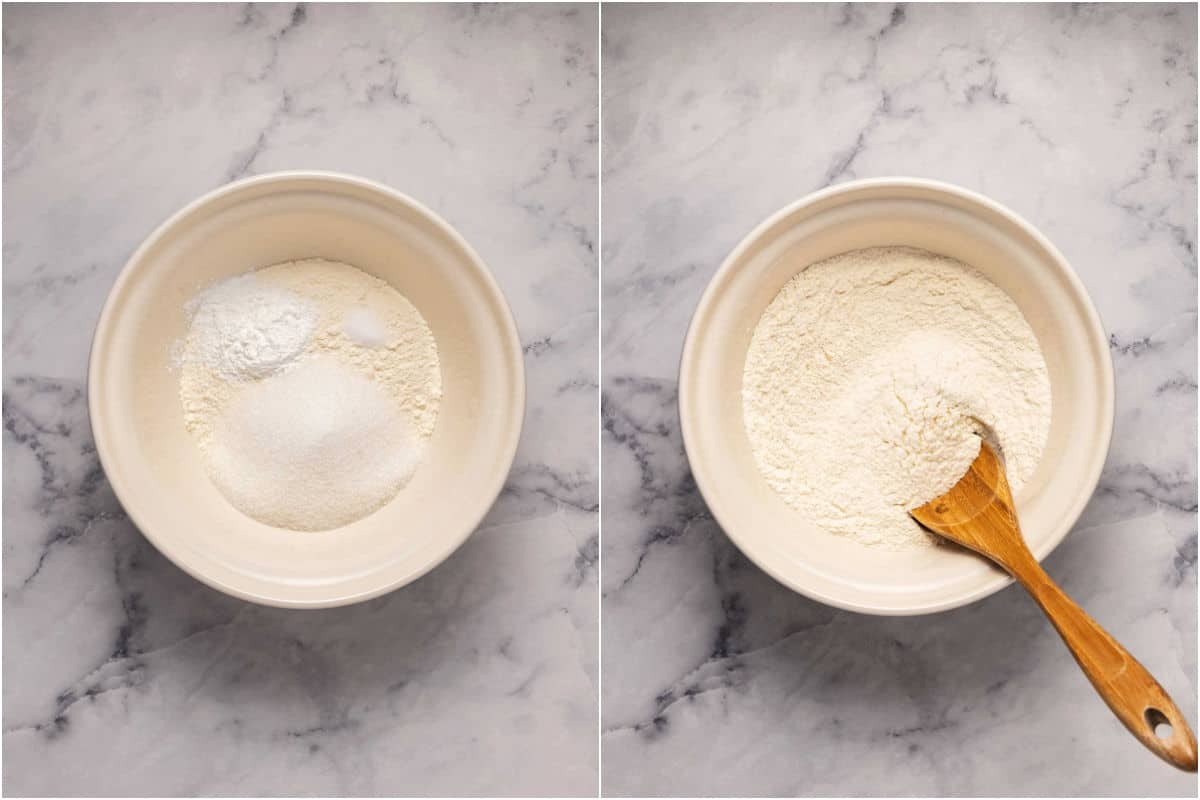 Two photo collage of dry ingredients in a bowl and then mixed with a wooden spoon.