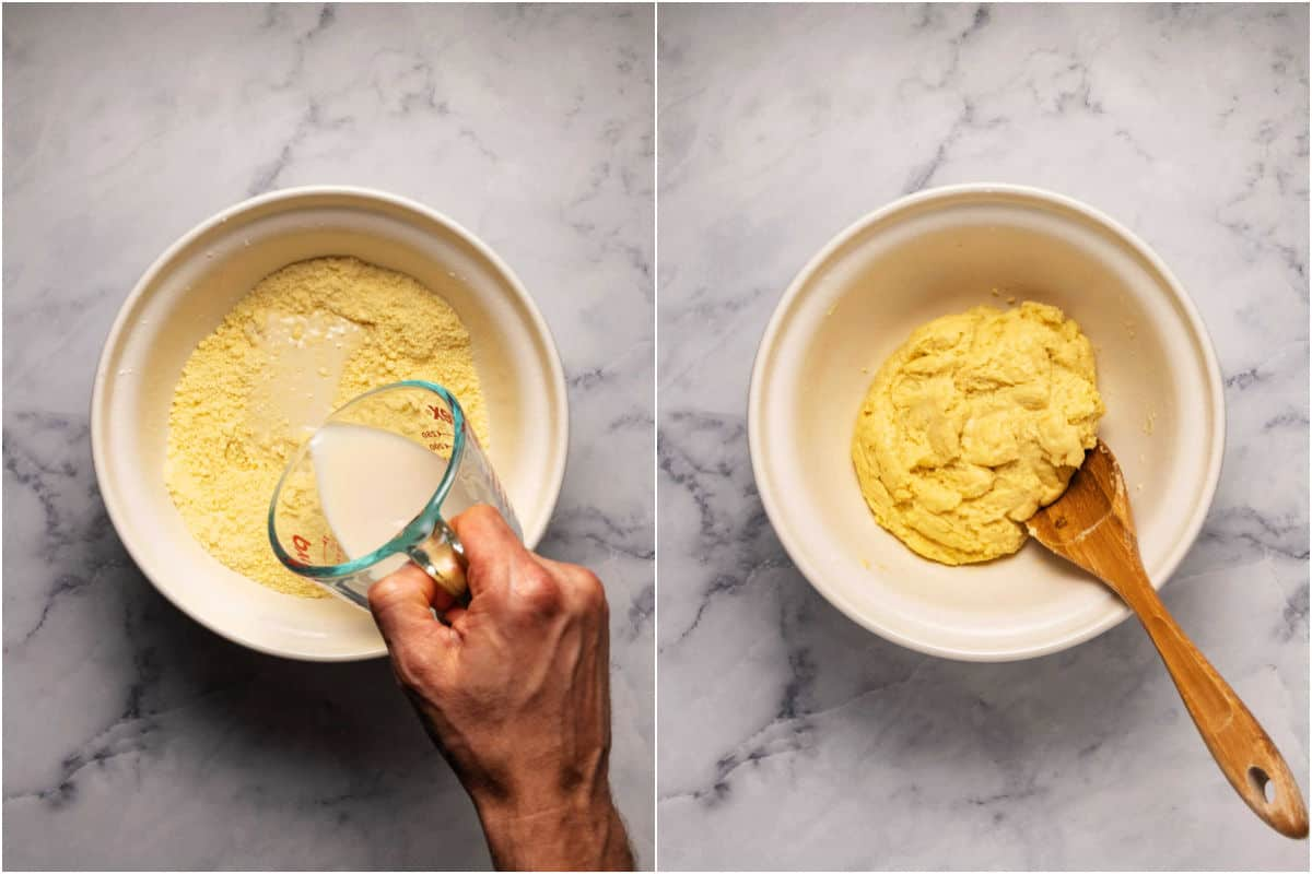 Collage of two photos showing soy milk added to bowl and mixed in to become a thick batter.
