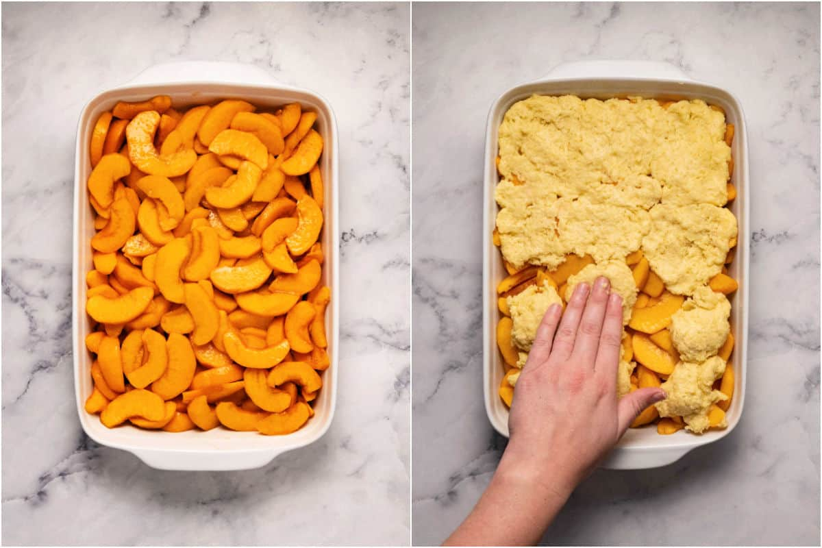 Photo collage of two photos showing peaches in a 9x13 dish and then topped with batter.