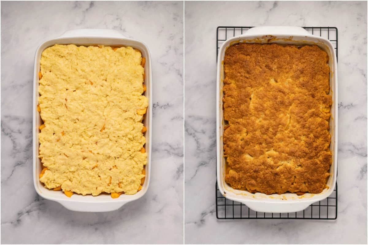 Two photo collage showing peach cobbler before and after baking.