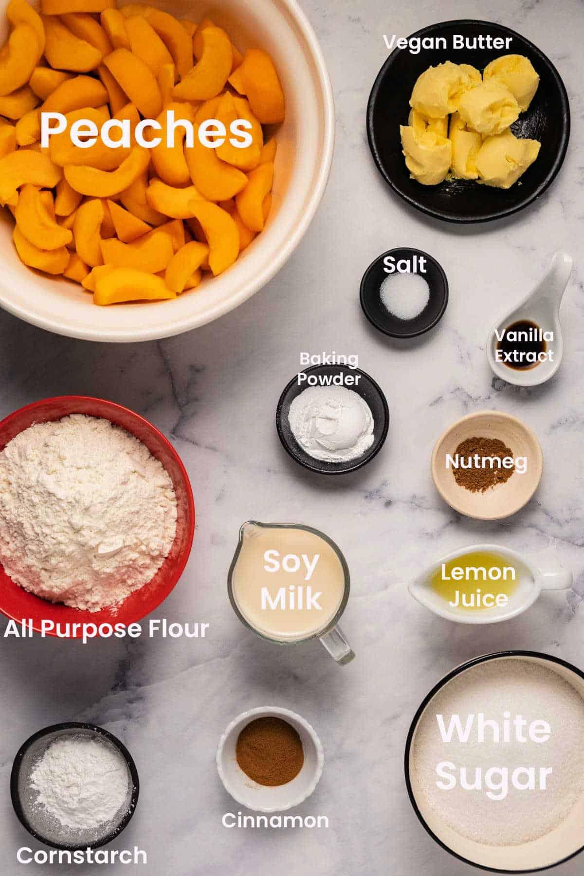 Ingredients to make a vegan peach cobbler.