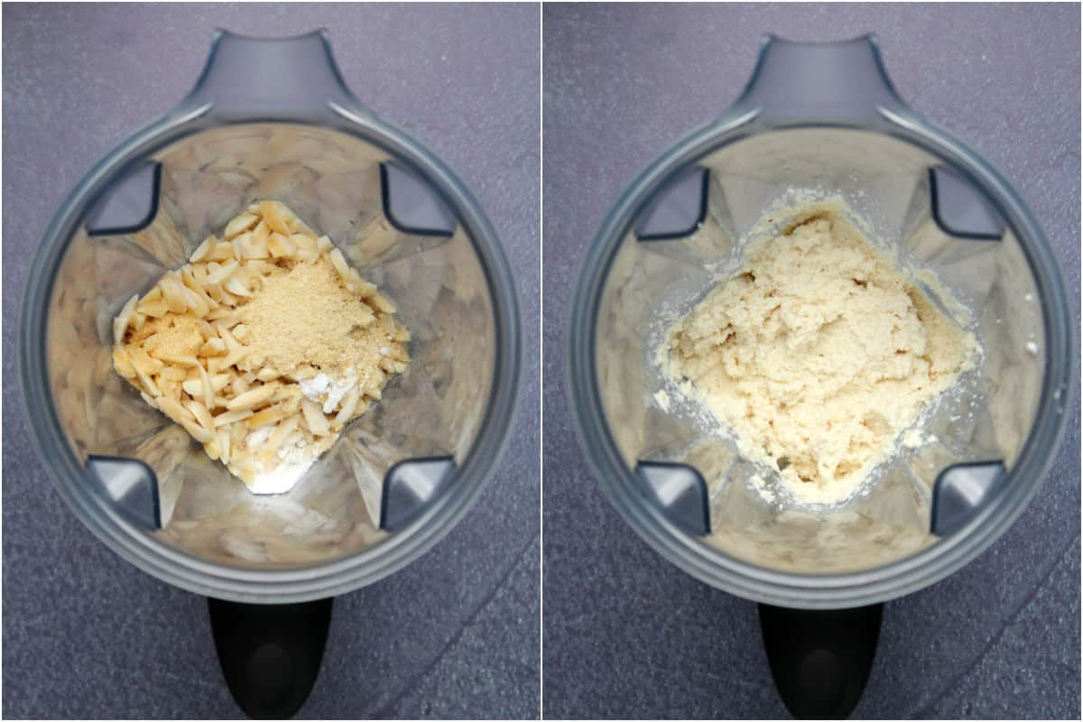 Step by step process photo collage of making vegan ricotta cheese