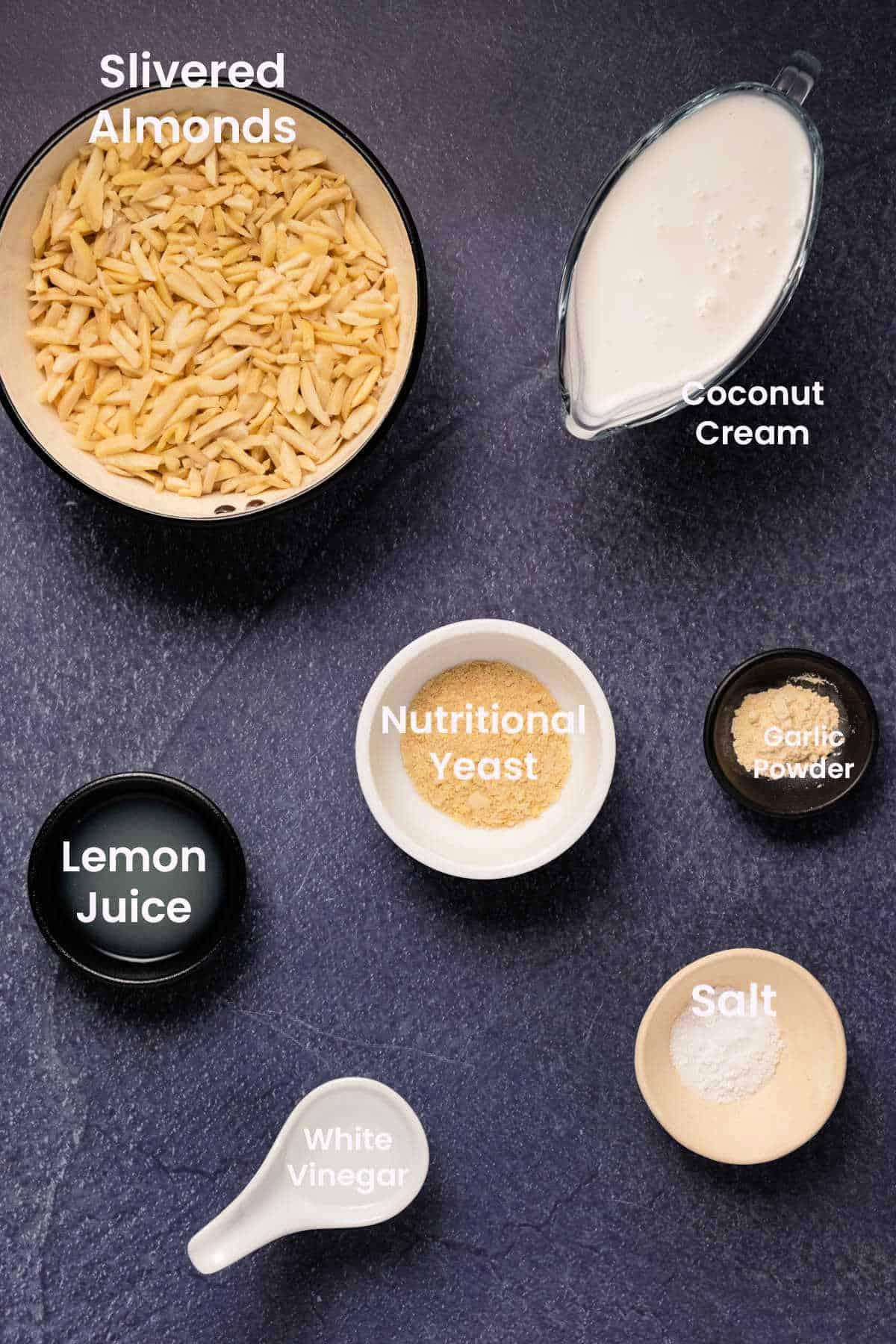 Ingredients for making vegan ricotta