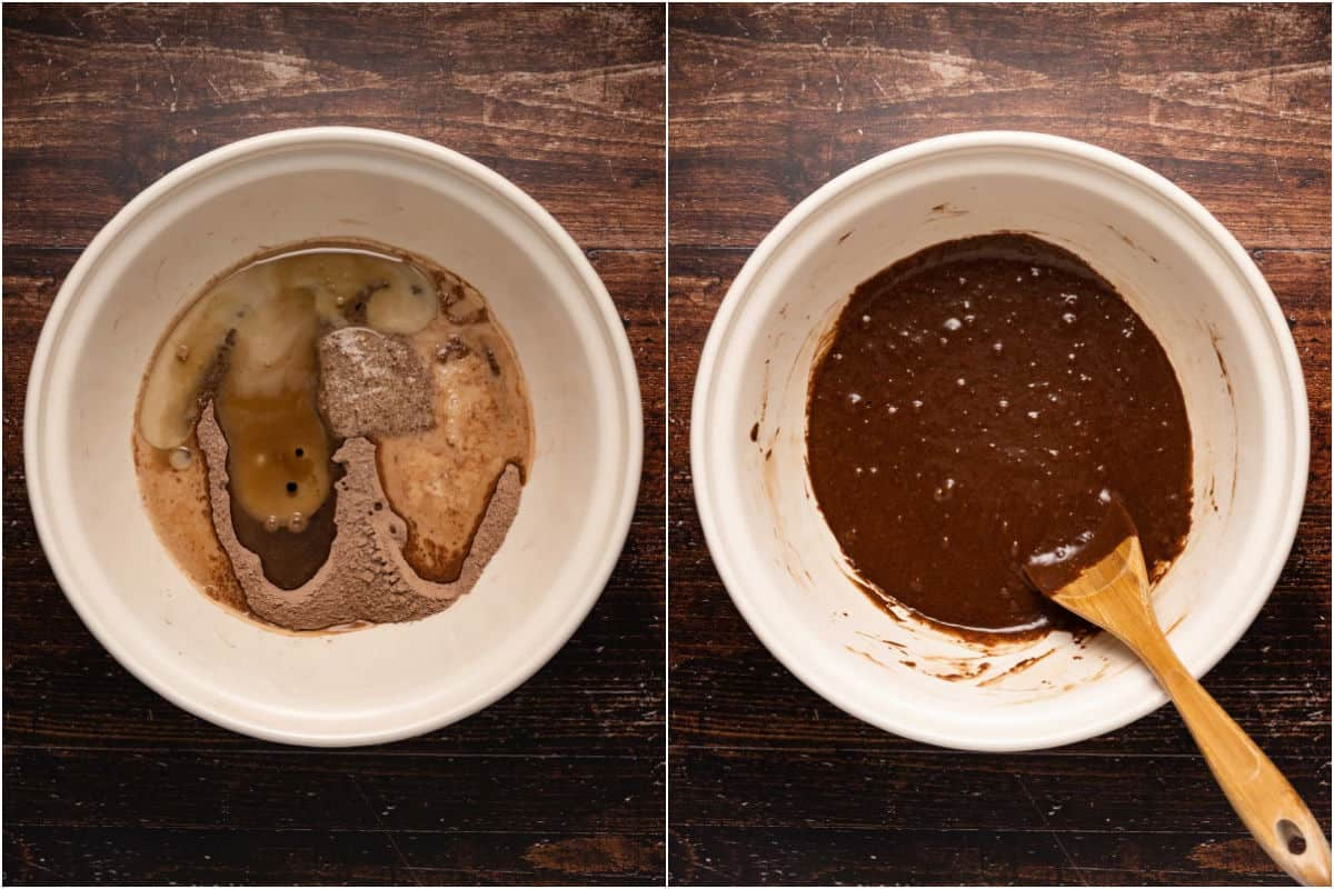 Collage of two photos showing wet ingredients added to mixing bowl and then mixed in.