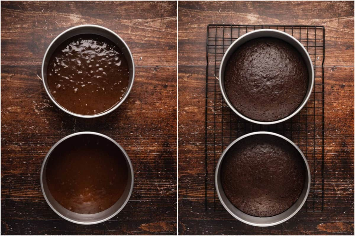 Two photo collage showing cakes before and after baking.