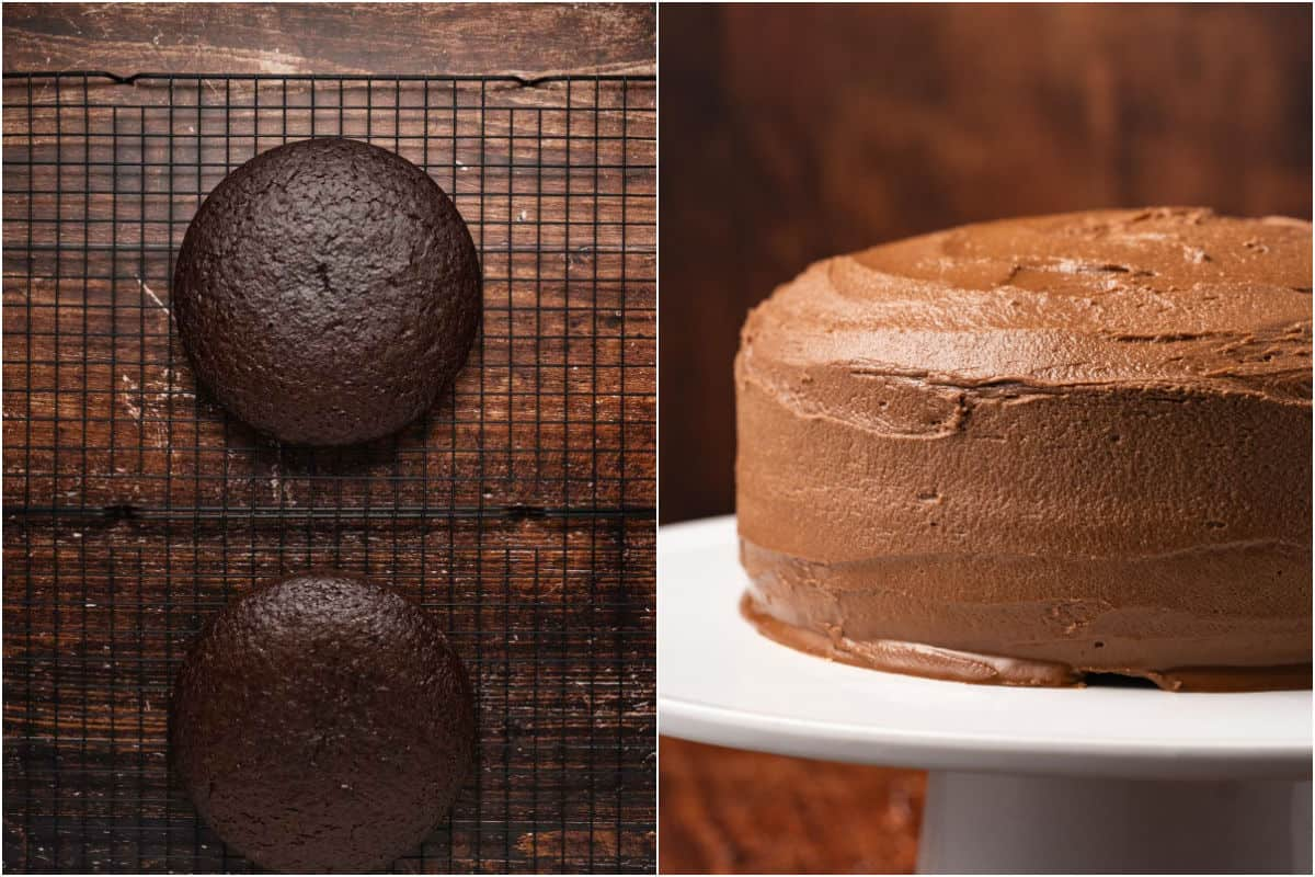Collage of two photos showing cakes on wire cooling rack and then the whole frosted cake.
