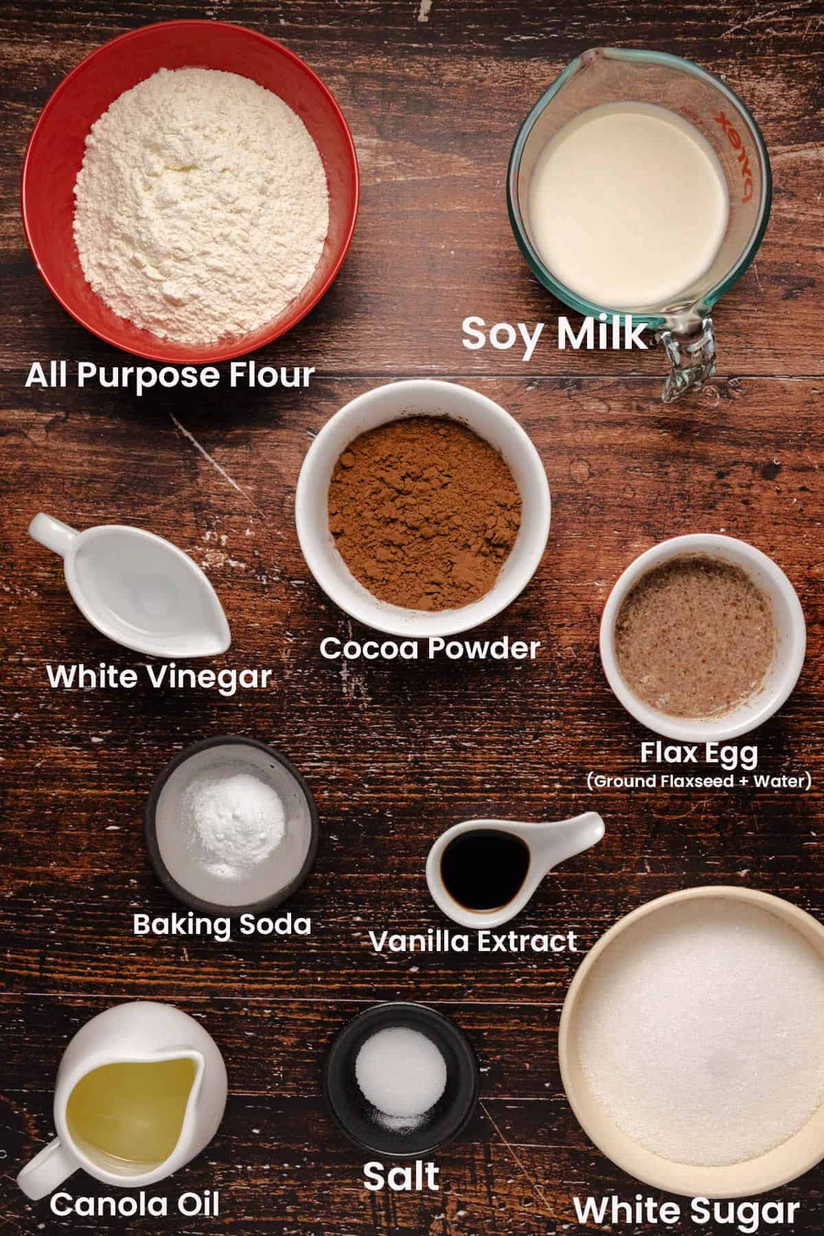 Ingredients to make easy vegan chocolate cake.