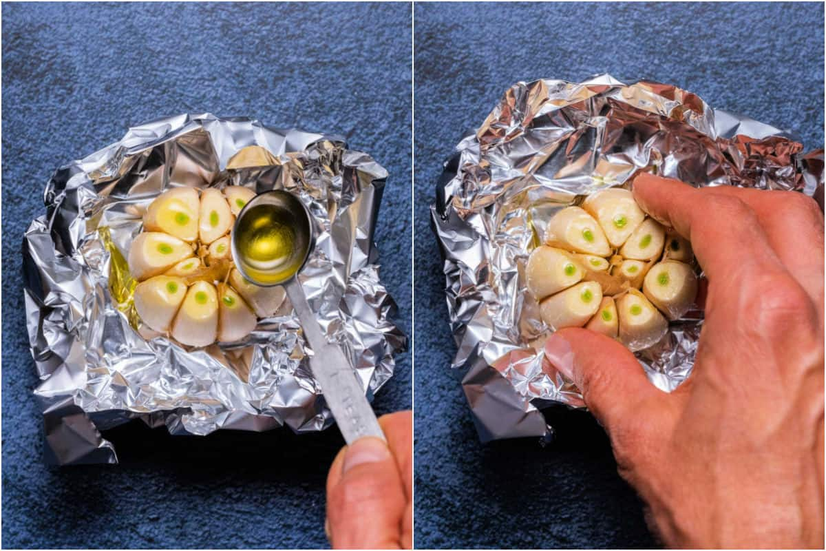 Two photo collage showing olive oil pouring over head of garlic and then massaged in with fingers.