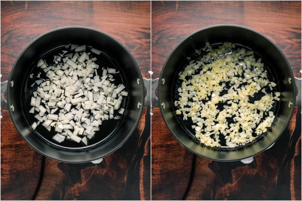 Collage of two photos showing onions and olive oil in a pot before and after sautéeing.