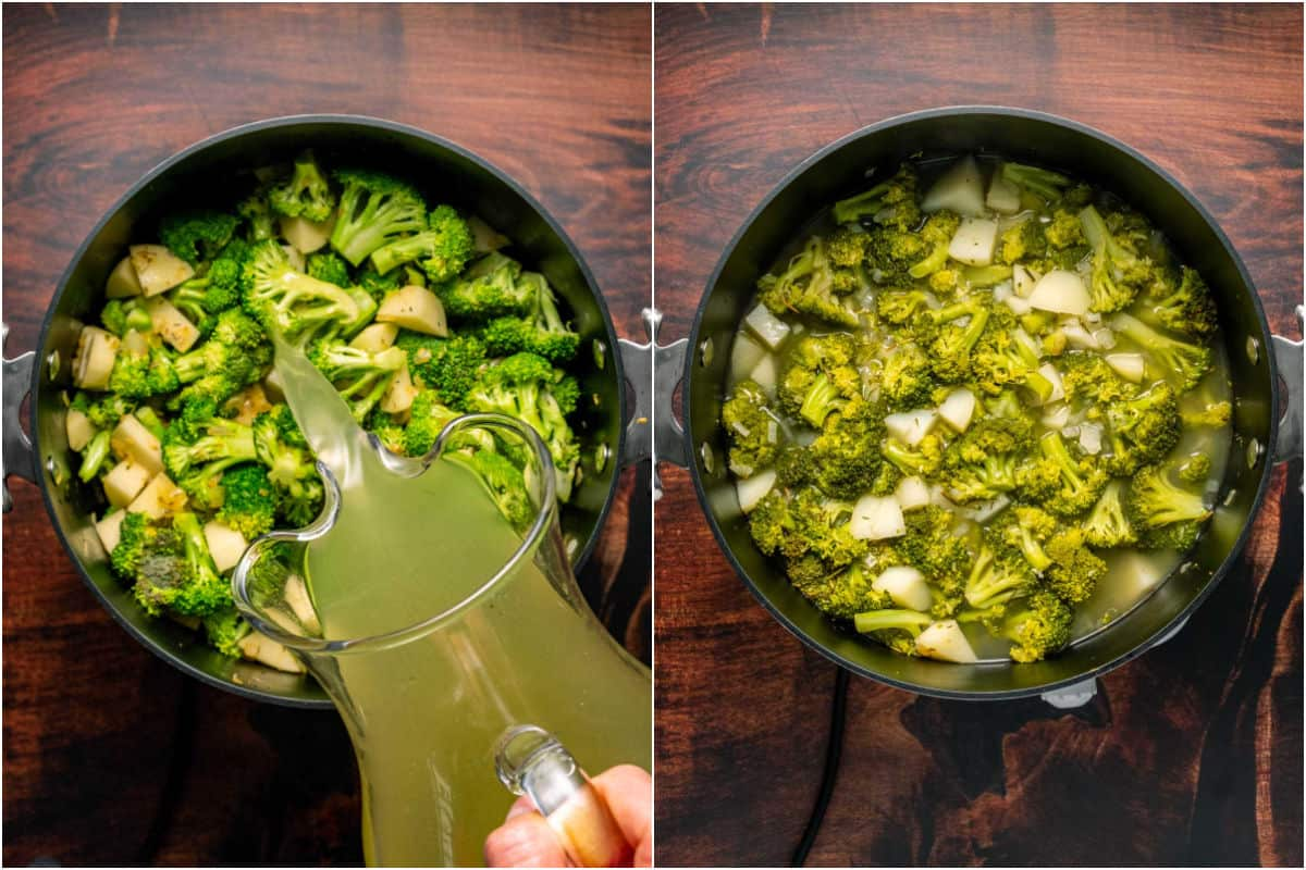 Collage of two photos showing vegetable stock added to pot, and the vegetables cooked after simmering.