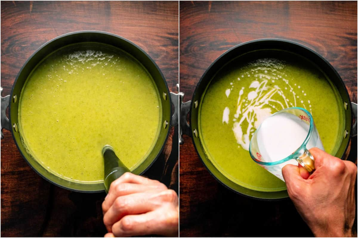 Two photo collage showing blending the soup and then adding coconut cream.