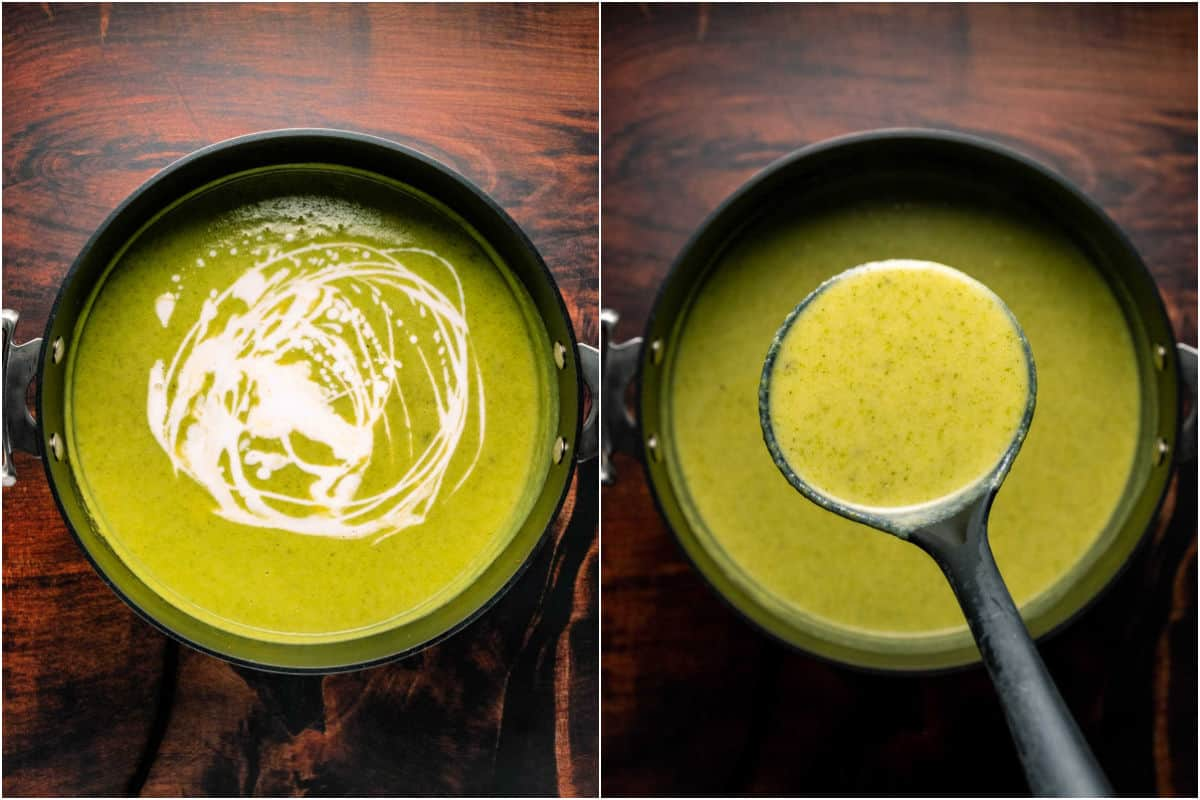 Two photo collage showing coconut cream mixed in and then a soup ladle lifting soup out of the pot.
