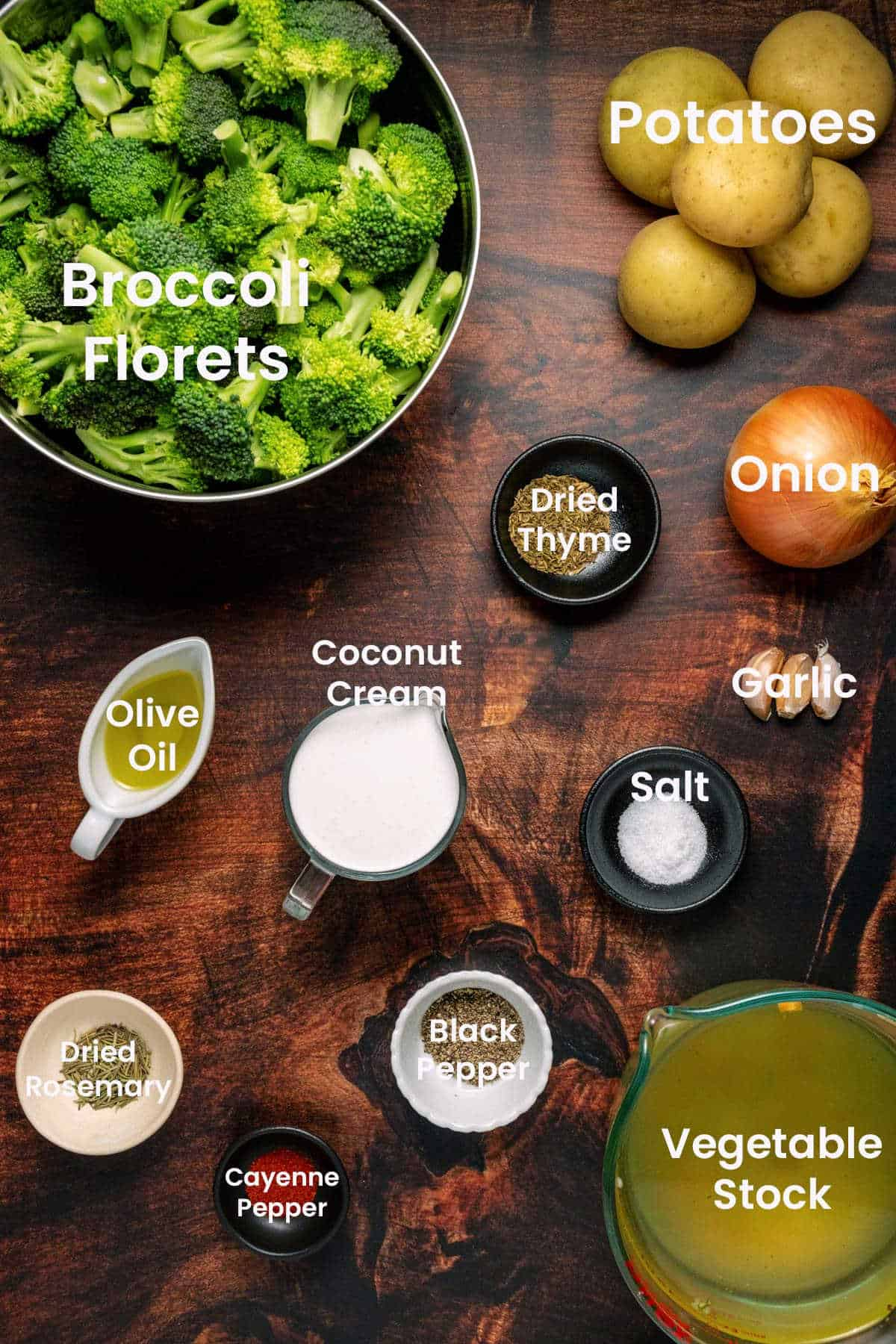 Photo of ingredients needed to make vegan broccoli soup.