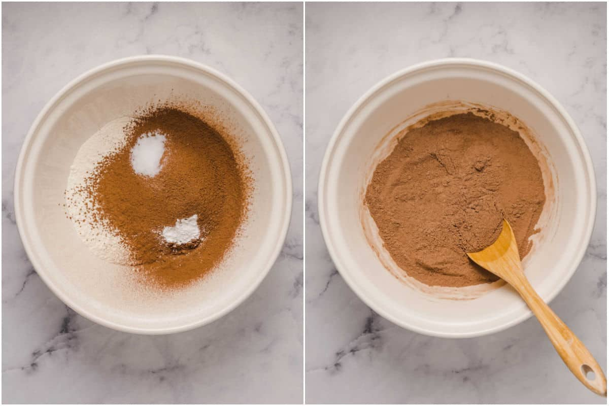 Collage of two photos showing dry ingredients added to mixing bowl and mixed.
