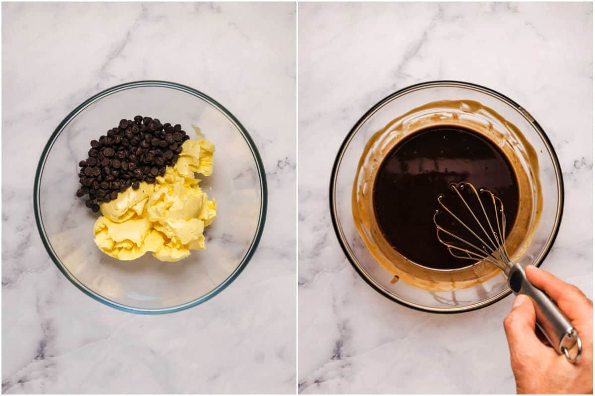 Two photo collage showing vegan butter and chocolate chips added to microwave safe bowl and melted.