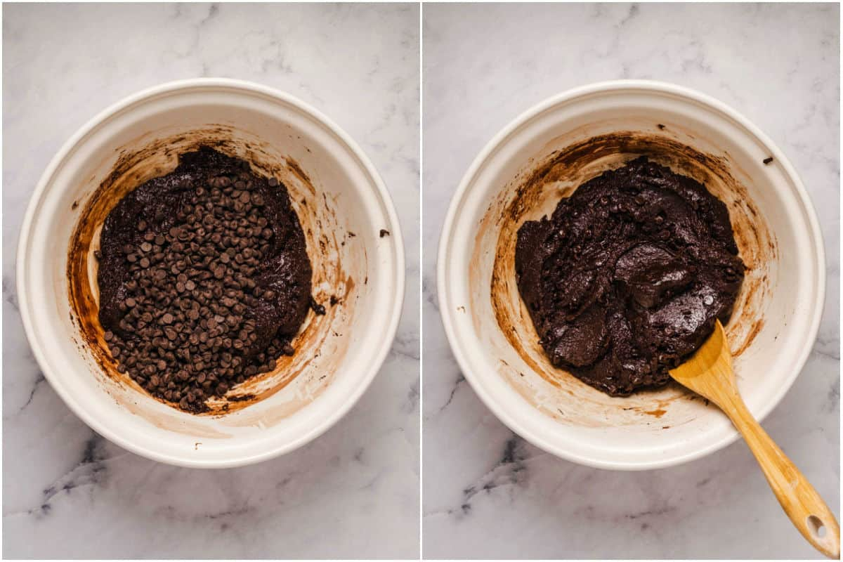 Collage of two photos showing chocolate chips added to mixing bowl and mixed in.