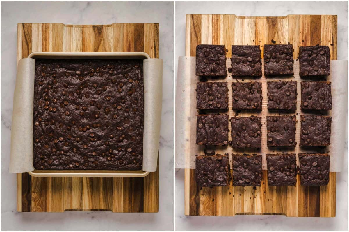 Two photo collage showing freshly baked brownies in baking dish and then placed onto wooden board and cut into squares.