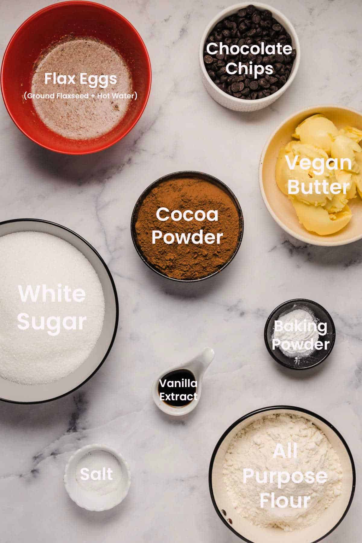 Photo of ingredients needed to make vegan brownies.