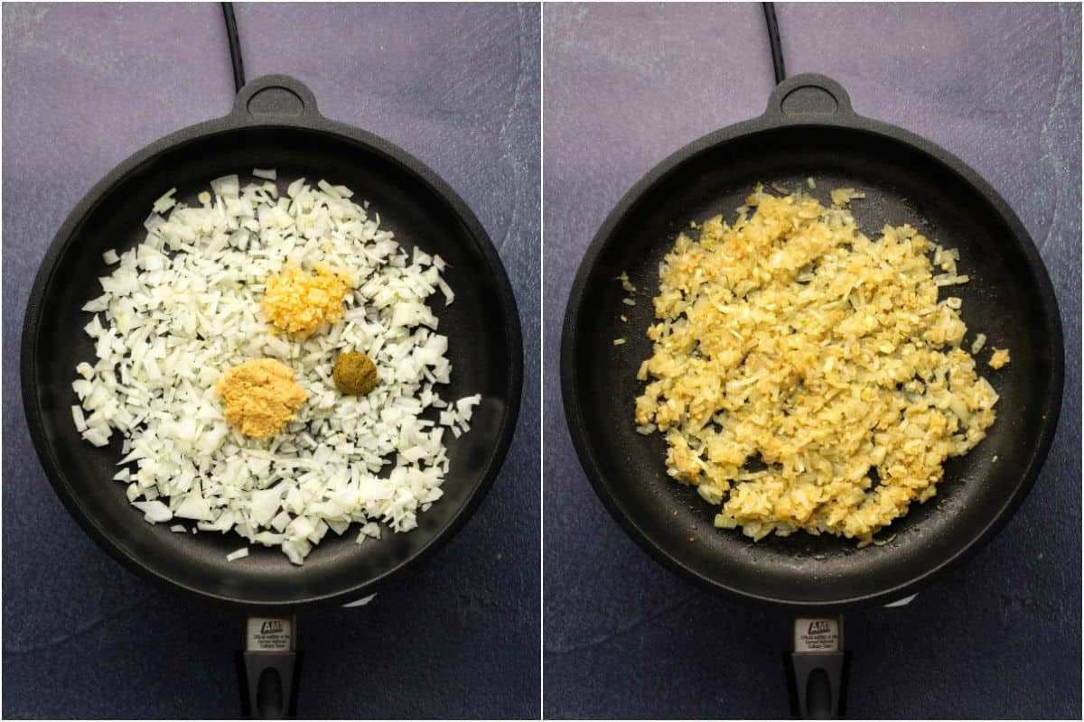 Collage of two photos showing onions, garlic, ginger and green curry paste in a frying pan and then sautéed.