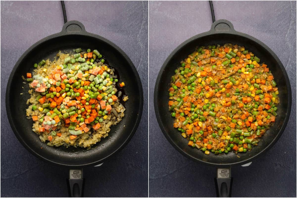 Collage of two photos showing frozen veg added to pan and sautéed.