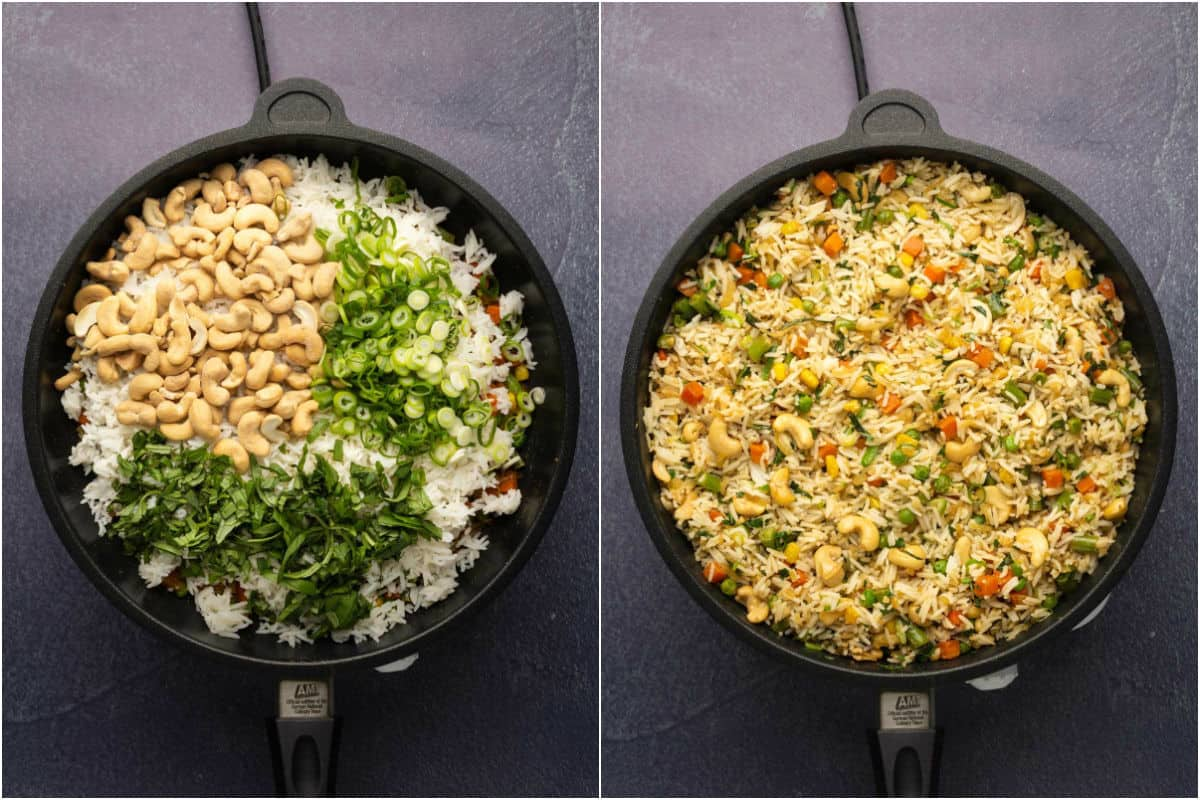 Collage of two photos showing rice, cashews, spring onions and fresh chopped basil added to pan and sautéed.
